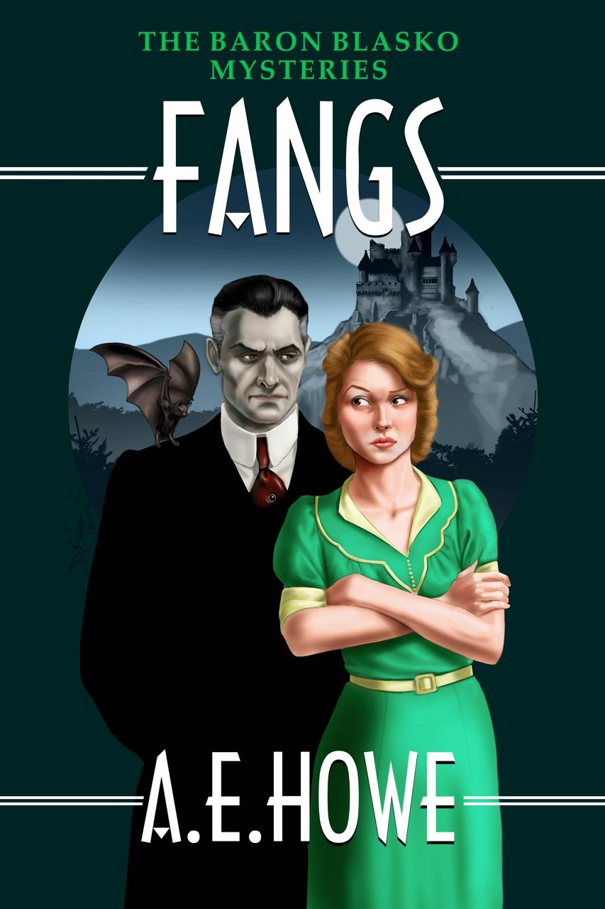 A.E. Howe - Fangs book cover design by Corvid Design